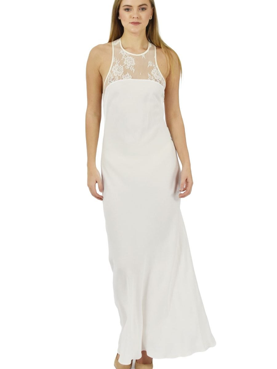 Ivory fine lace and viscose maxi dress in body fitted silhouette in standard and custom sizes by Petriiski