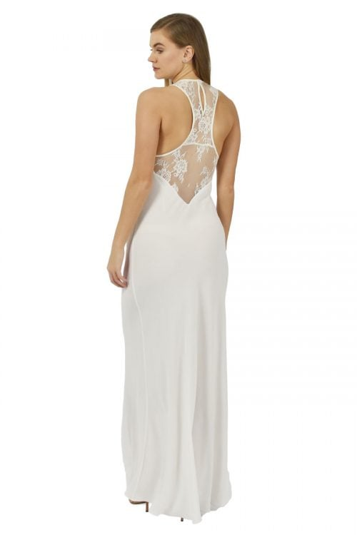 Racer back lace detail maxi dress in ivory colour perfect for your hen party made by Petriiski Fashion
