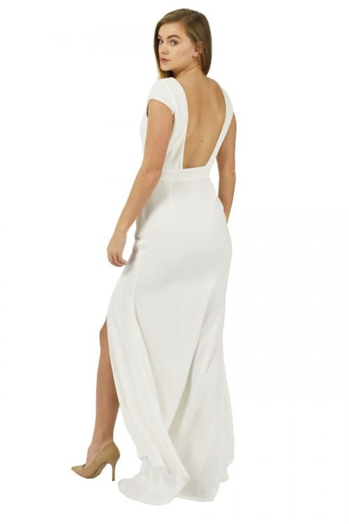 Backless stylish maxi dress in ivory soft viscose by Petriiski