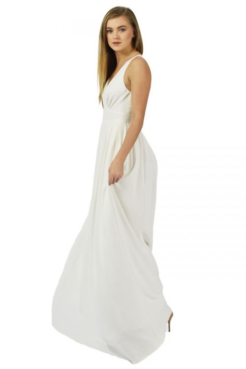 Meade to measure by Petriiski soft ivory maxi gown for your beach weeding