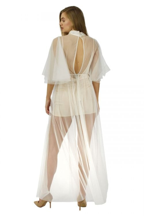 Maxi overdress in off white formaldehyde free mesh custom made by Petriiski