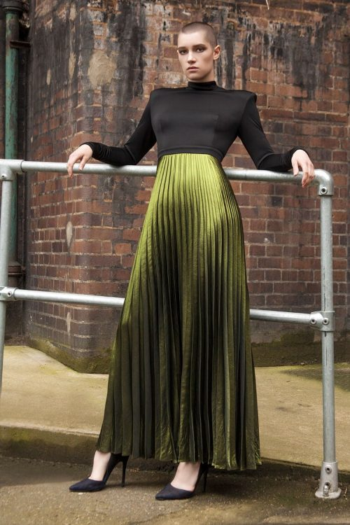 Black and green maxi dress with pleated bottom in mat foil metallic fabric by Petriiski