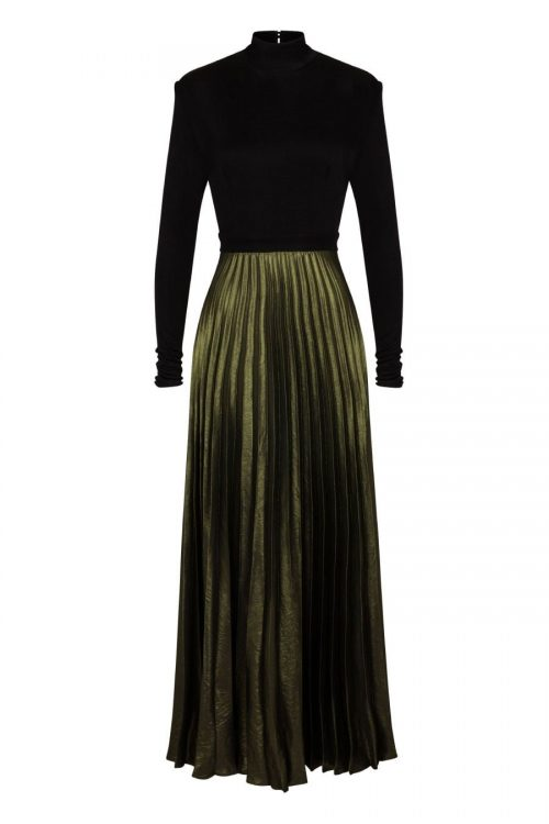 Black long sleeve open oval back dress in fine viscose jersey fabric nad pleated green lurex skirt made by Petriiski