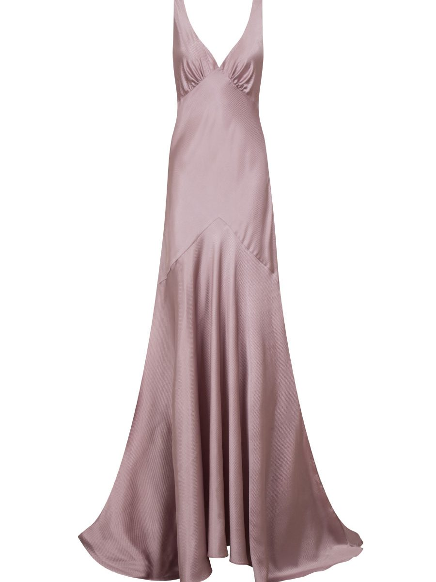 Satin evening dress in blush pink with oval plunging neckline ,low open cow back and leg-baring side slip design by Petriiski