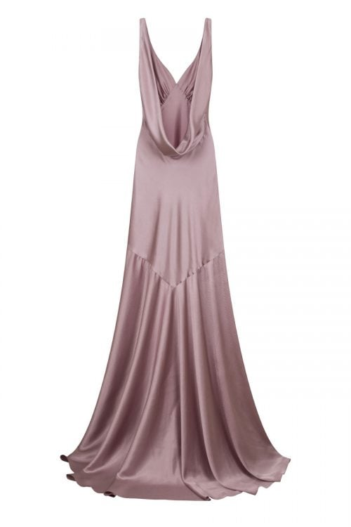 Open back cow neck satin gown falling to a floor-sweeping hem made by Petriiski