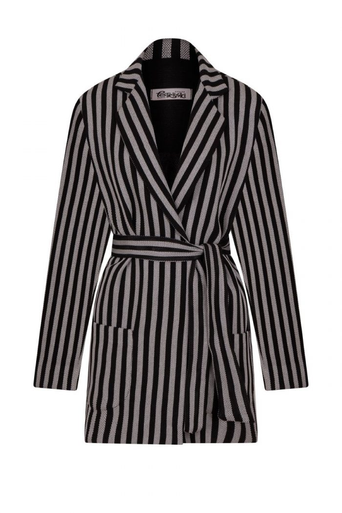 Loose cut long jacket in black and grey stripe woven fabric with detachable belt from Petriiski fashion