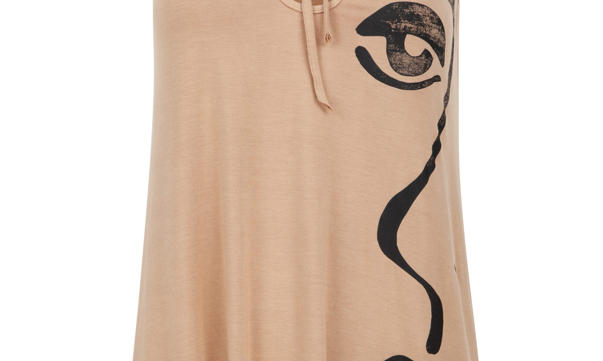 Flared keyhole top in sand beige