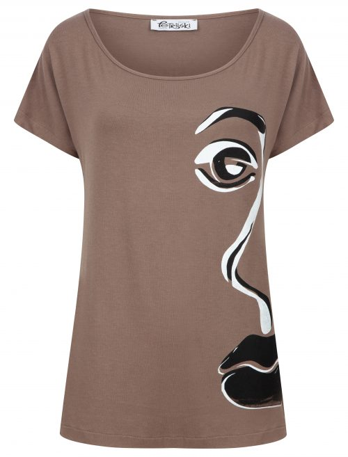T-shirt style top in mink brown