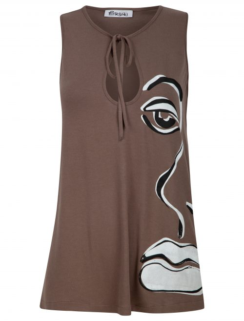 Flared key hole top in mink brown