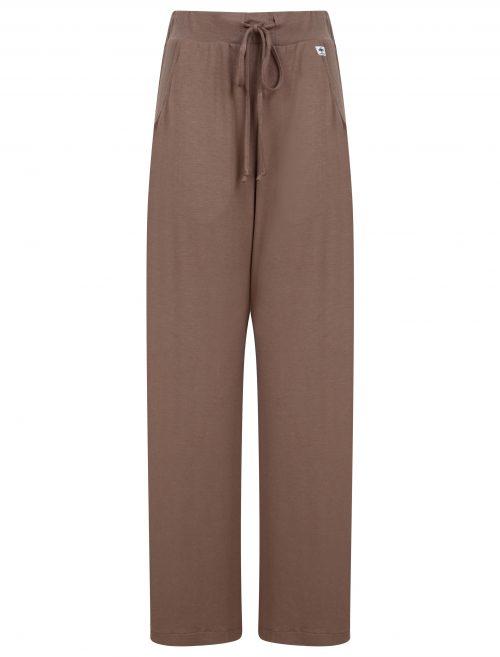 wide leg trousers in mink brown