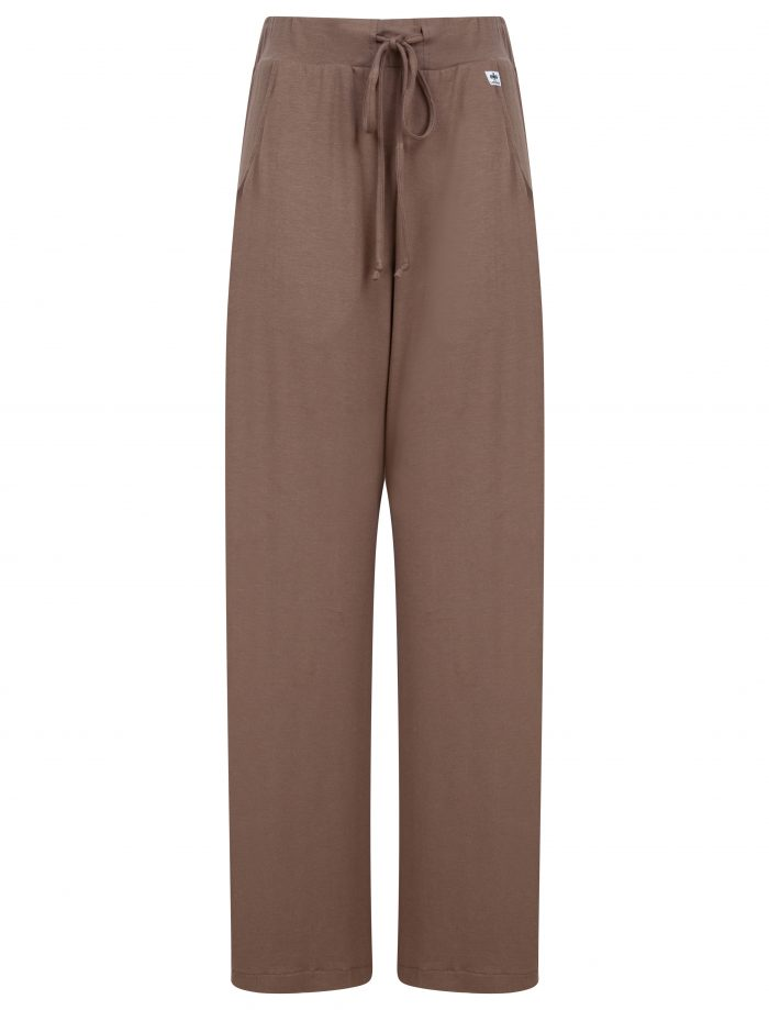 wide leg trousers in mink brown