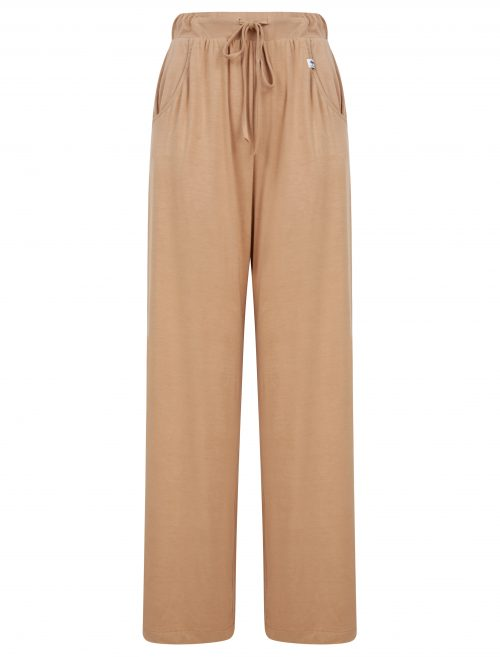 Wide leg trousers in sand beige