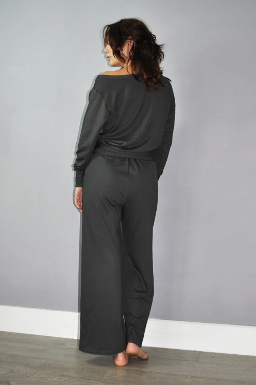 Jumper and wide trousers set in dark grey viscose