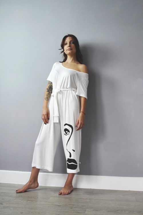 Jumpsuit in ivory with screen print