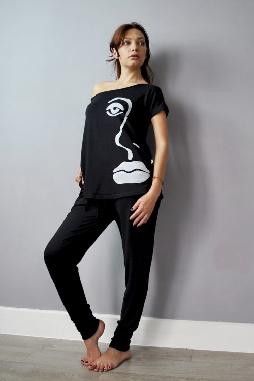 T-shirt style top and joggers set in black with screen print