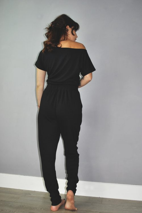 T-shirt style top and joggers set in black
