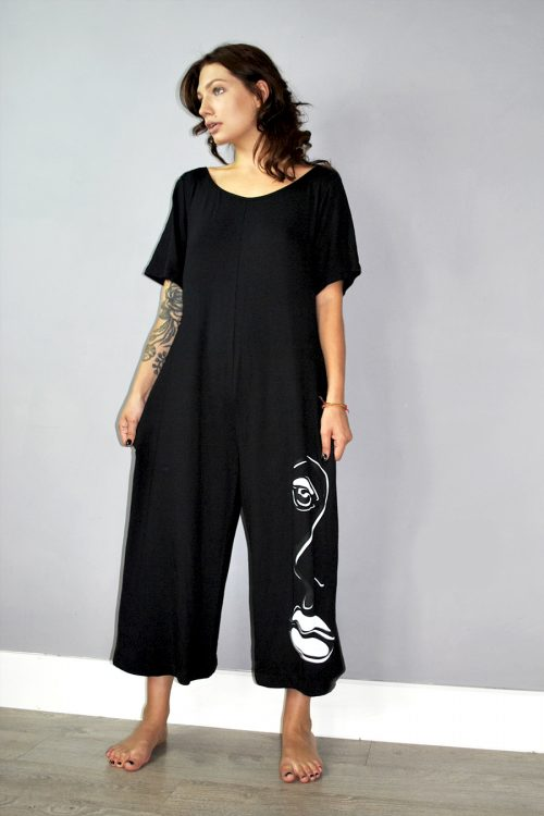 Jumpsuit in black with screen print
