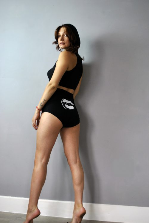 Knickers and crop top set in black with screen print