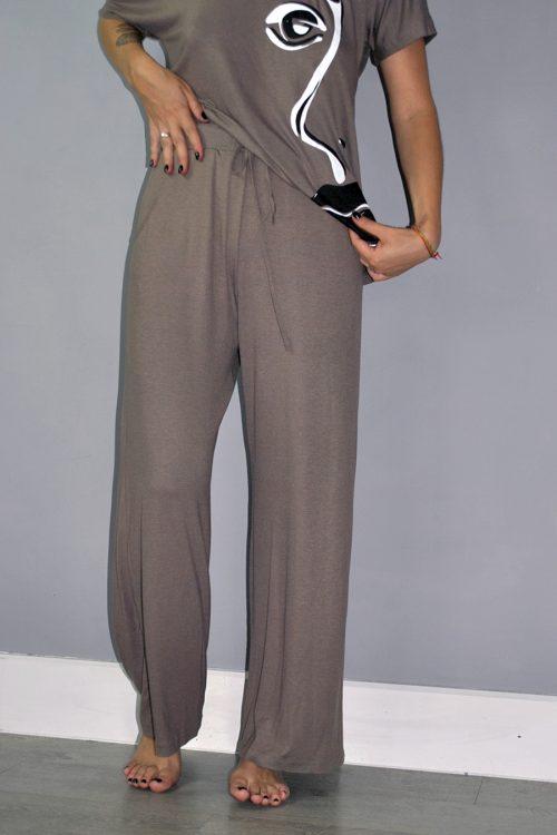 Wide leg trouser in mink brown